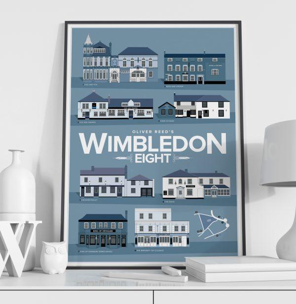 Oliver Reed's Wimbledon 8 Pub Crawl Print Black Frame