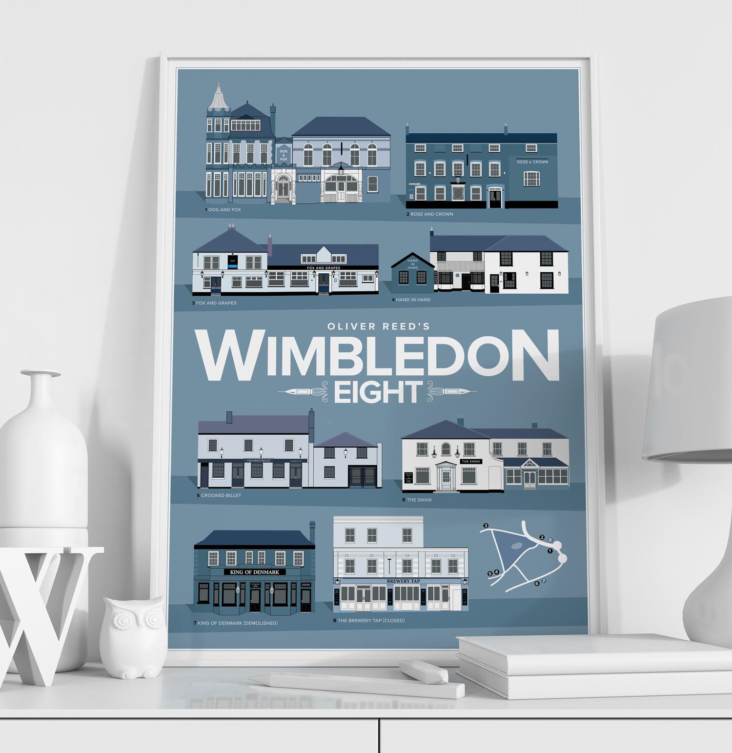 Oliver Reed's Wimbledon 8 Pub Crawl Print White Frame