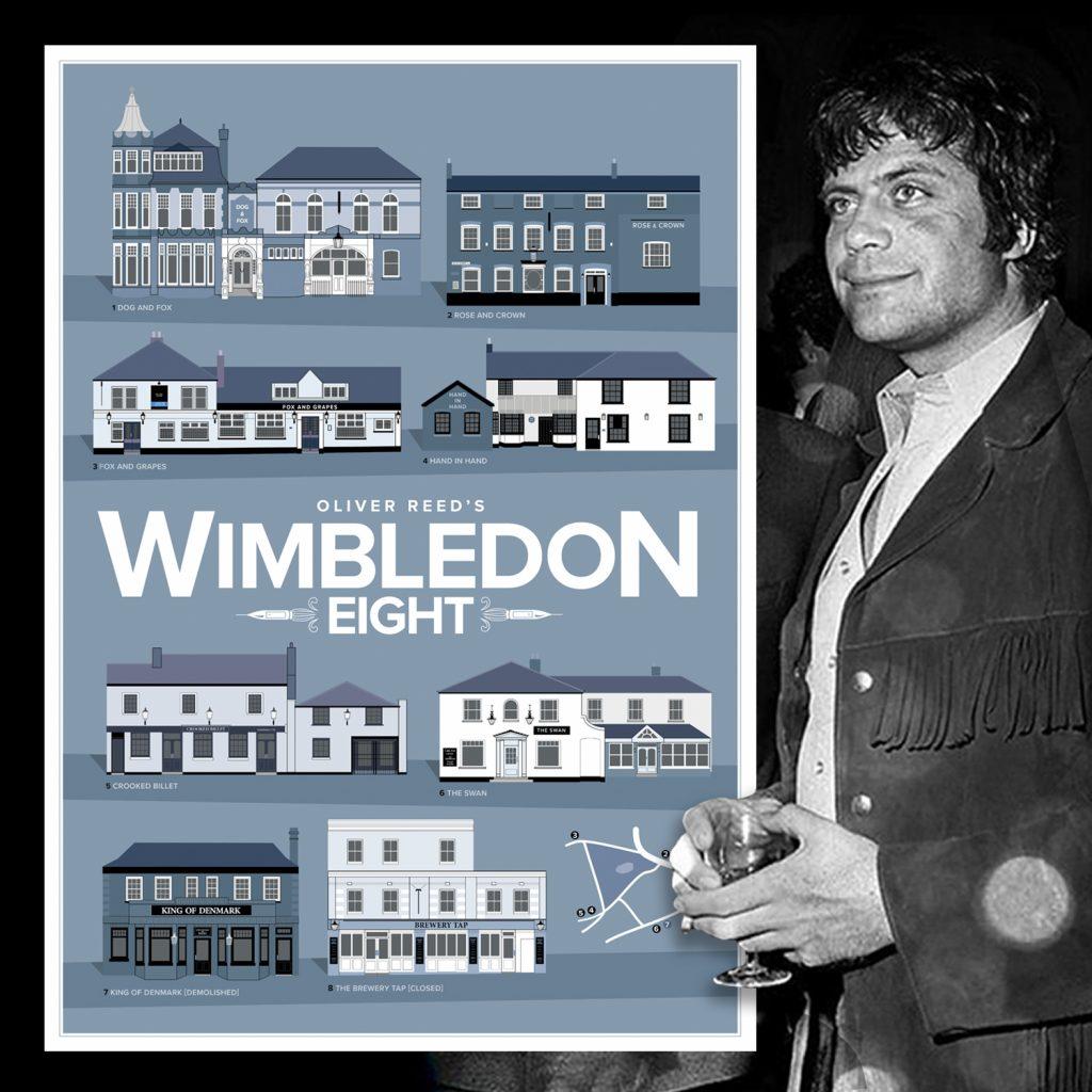 Oliver Reed's Wimbledon 8 Pub Crawl Print