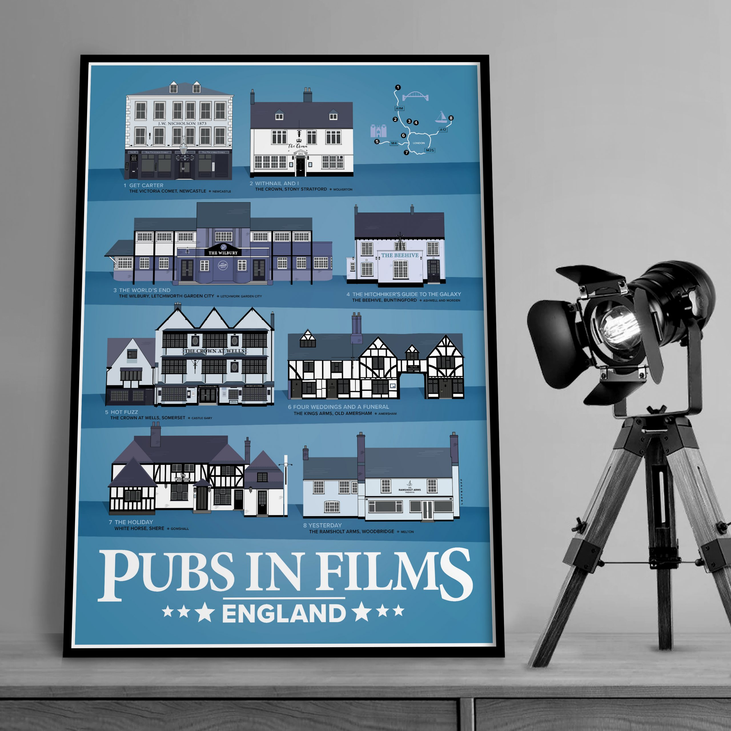 Pubs In Films Blue with Lamp