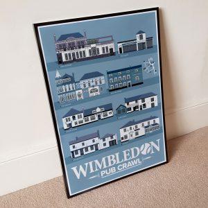 Wimbledon Pub Crawl Tennis Blue Print