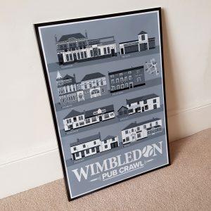 Wimbledon Pub Crawl Tennis Grey Print